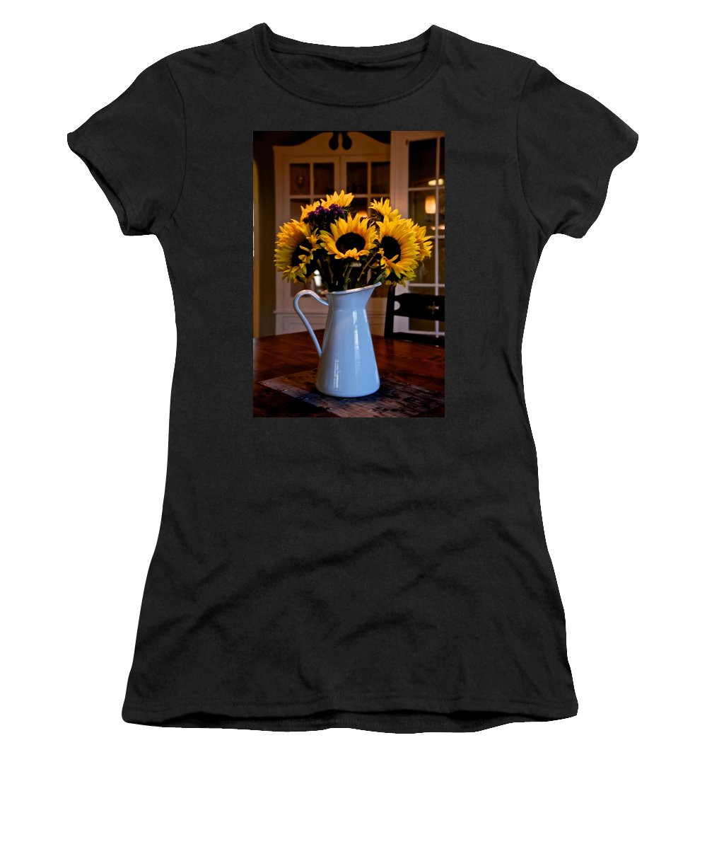 Sunflowers Women's T-Shirt (Athletic Fit) featuring the photograph Pitcher Of Sunflowers by Eric Tressler