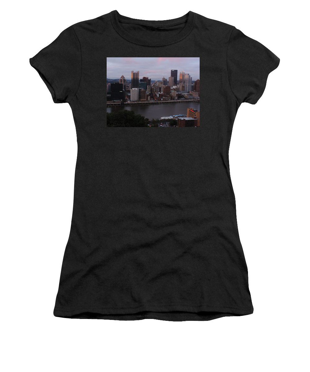 City Women's T-Shirt featuring the photograph Pittsburgh Aerial Skyline At Sunset 3 by Cityscape Photography