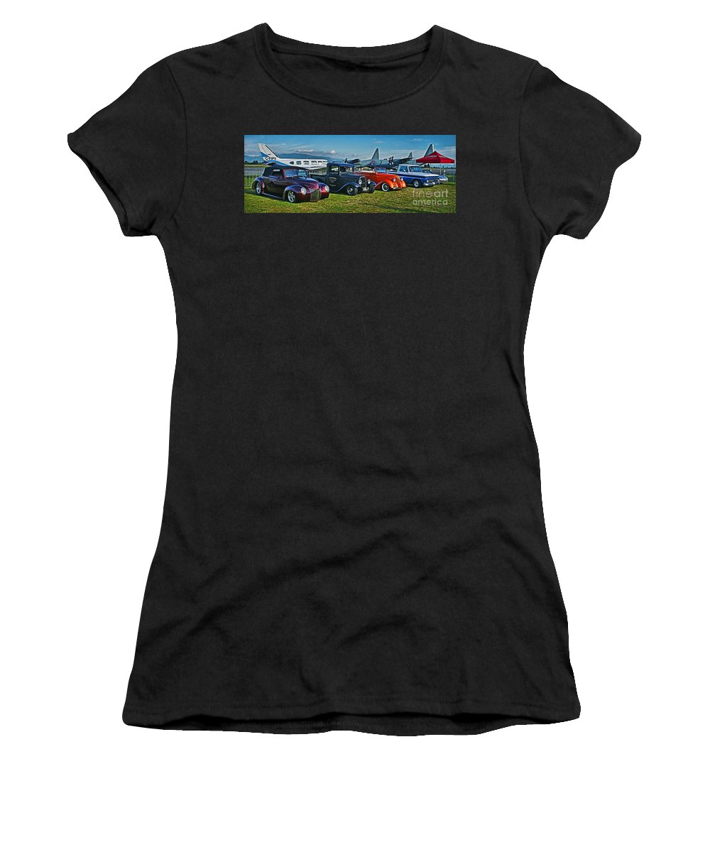 Cars Women's T-Shirt featuring the photograph Planes And Cars by Randy Harris