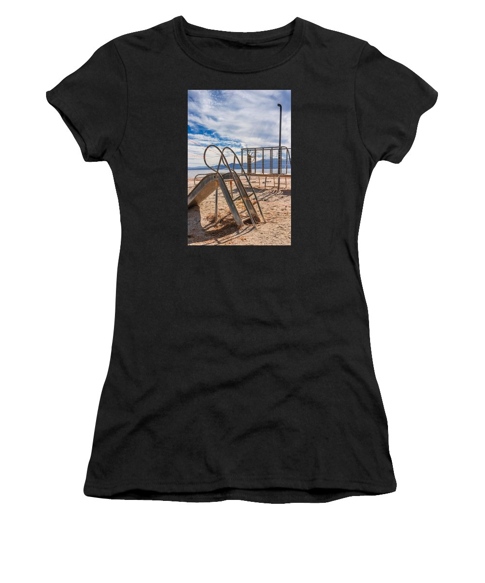 Salton Sea Women's T-Shirt (Athletic Fit) featuring the photograph Play Time Is Over Slide Playground by Scott Campbell