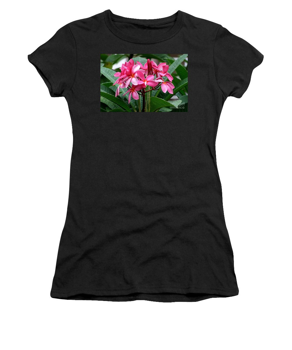 Plumeria Women's T-Shirt (Athletic Fit) featuring the photograph Playing In The Rain by Mary Deal