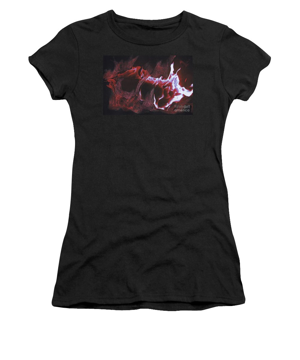 First Star Art Women's T-Shirt featuring the mixed media Playing With Fire 2 By Jrr by First Star Art