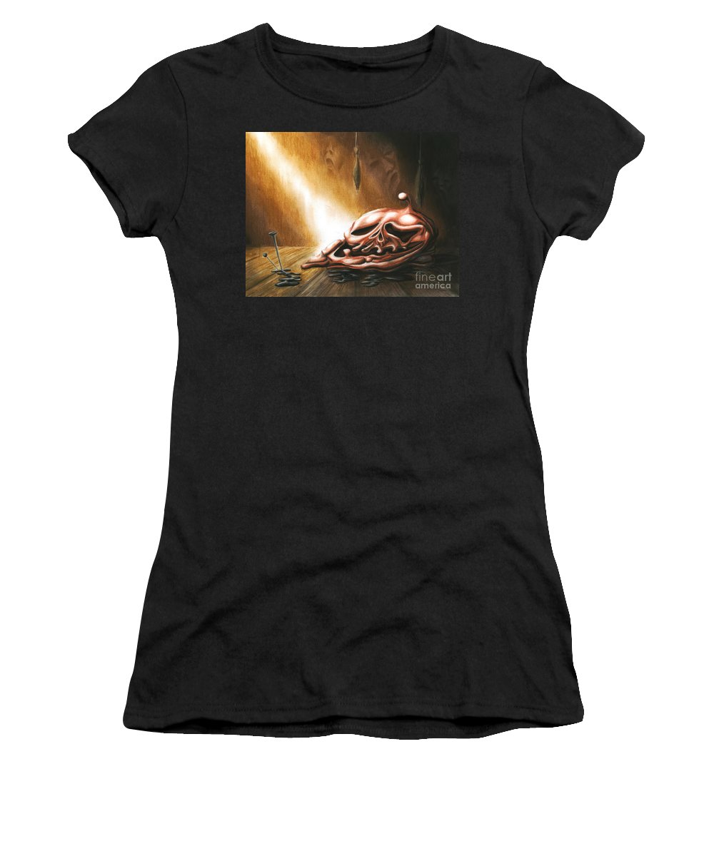 Table Women's T-Shirt featuring the drawing Please Leave It On The Table by Alisa Bogodarova