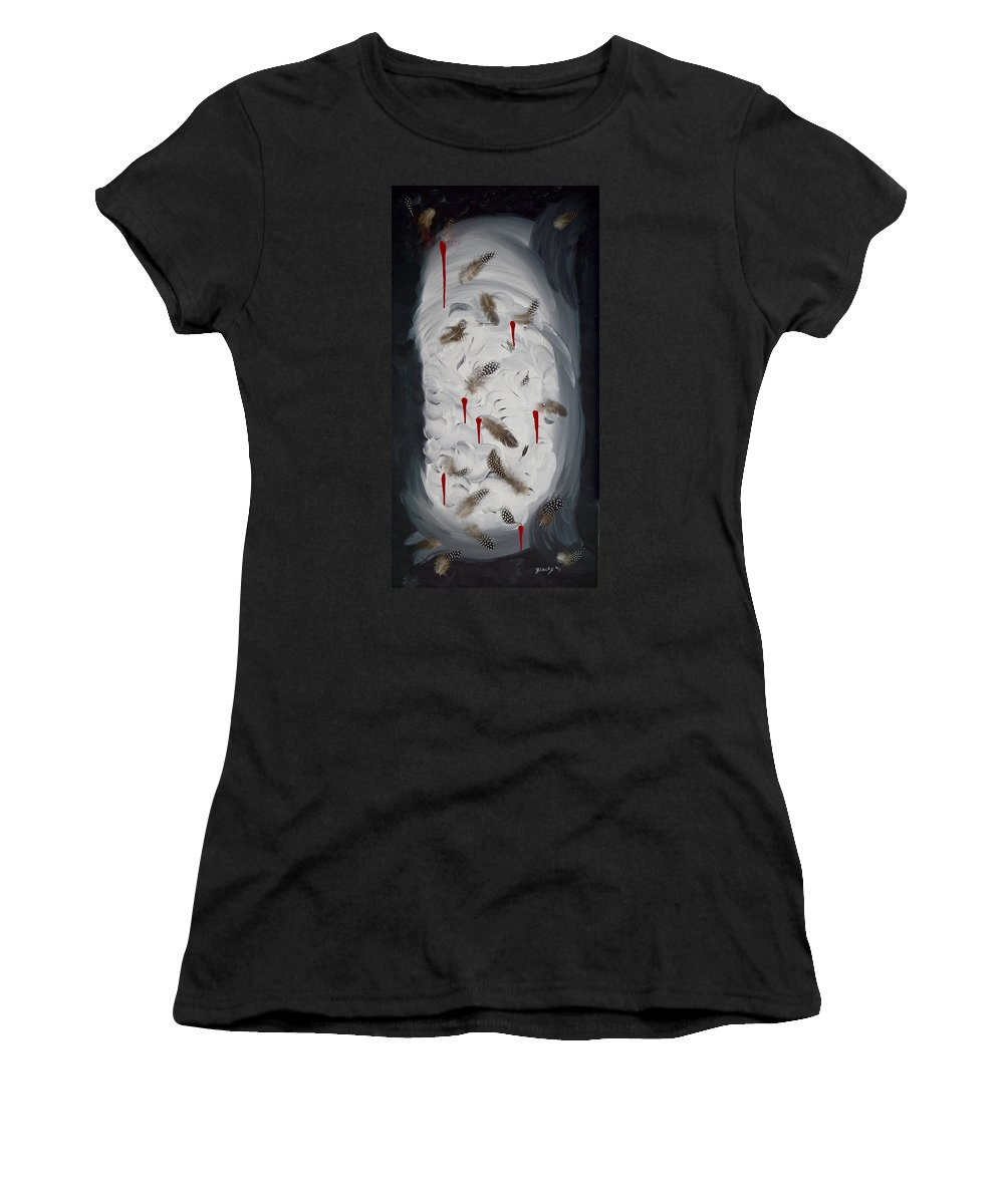 Modern Women's T-Shirt (Athletic Fit) featuring the painting Plucked by Donna Blackhall