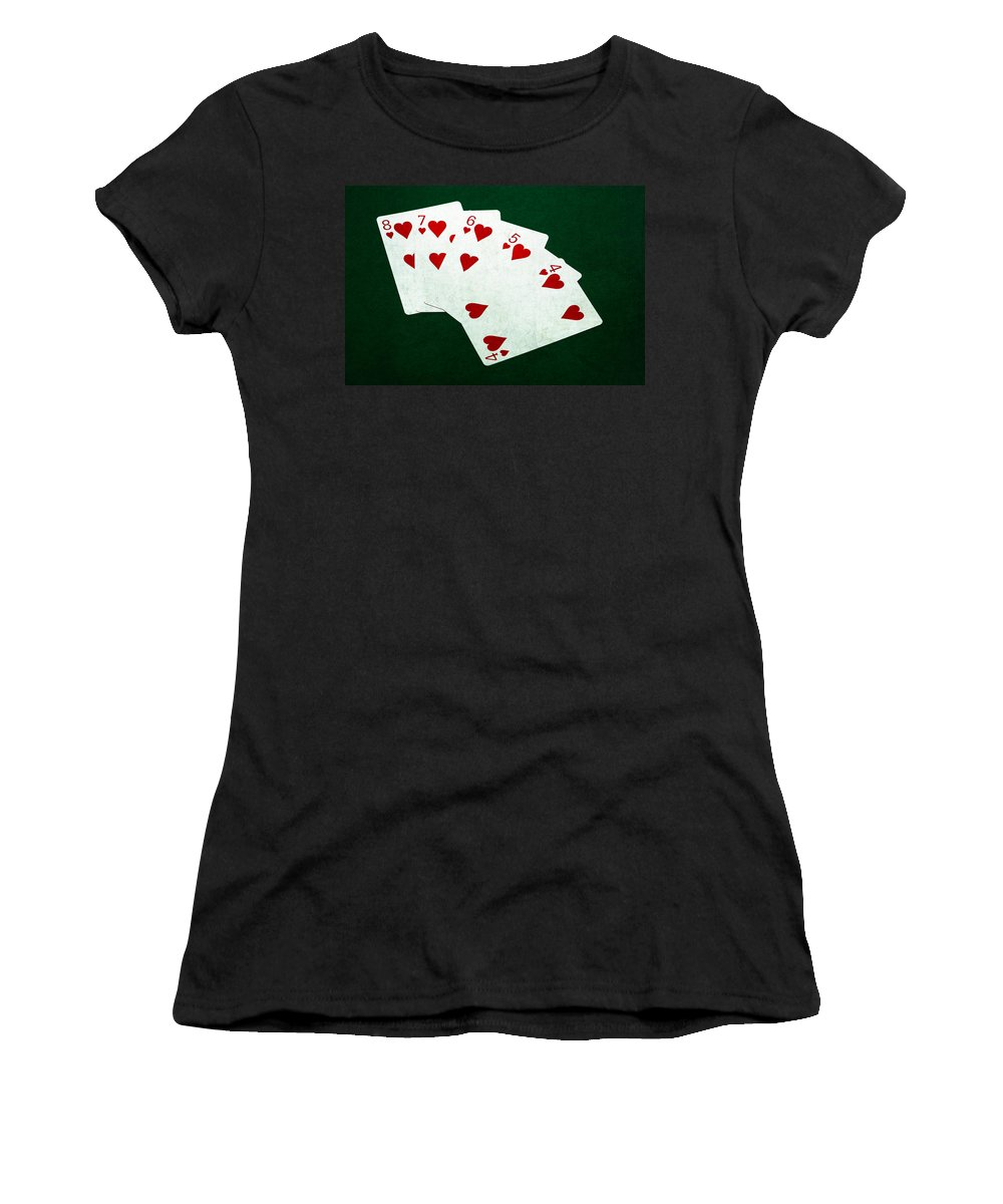 Poker Women's T-Shirt (Athletic Fit) featuring the photograph Poker Hands - Straight Flush 2 by Alexander Senin