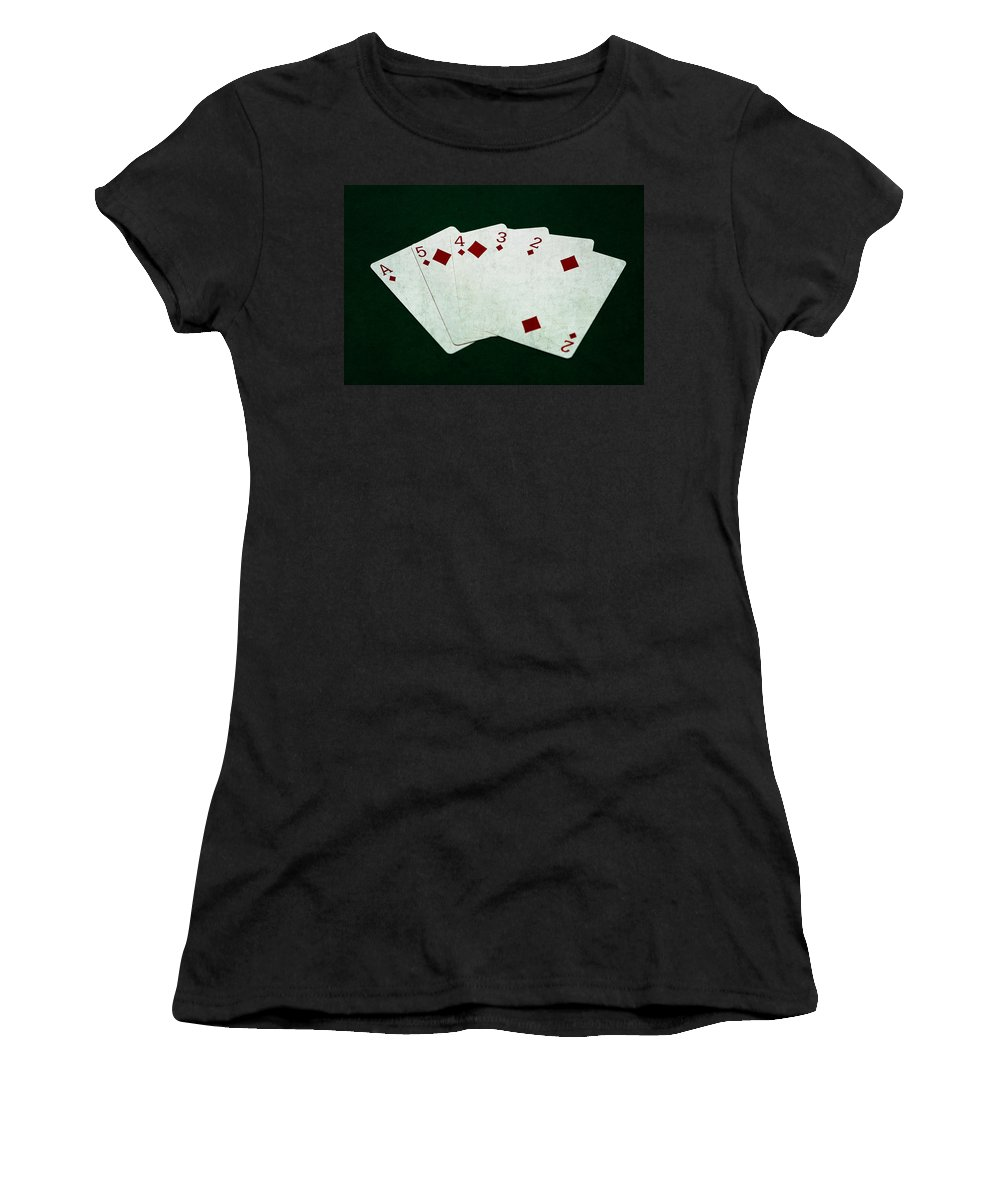 Poker Women's T-Shirt (Athletic Fit) featuring the photograph Poker Hands - Straight Flush 4 by Alexander Senin