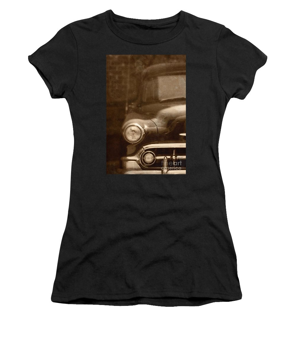 Antique; Car; Windows; Driving; Auto; Automobile; Automotive; Classic; Drive; Old; Front; Fender; Transportation; Vehicle; Vintage; Sepia; Headlight; Chrome; Hood; Chevy; Chevrolet Women's T-Shirt featuring the photograph Police by Margie Hurwich