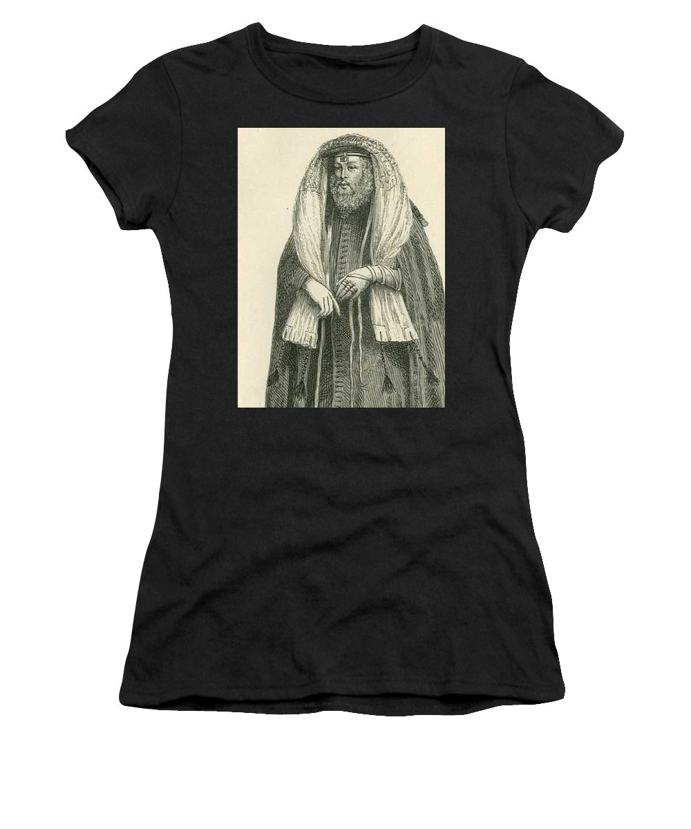 Rabbi Art Print Women's T-Shirt featuring the drawing Polish Rabbi With Talith And Phylacteries by Peter Ogden