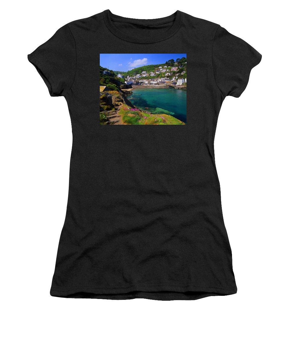 Polperro Women's T-Shirt featuring the photograph Polperro Harbor by Darren Galpin