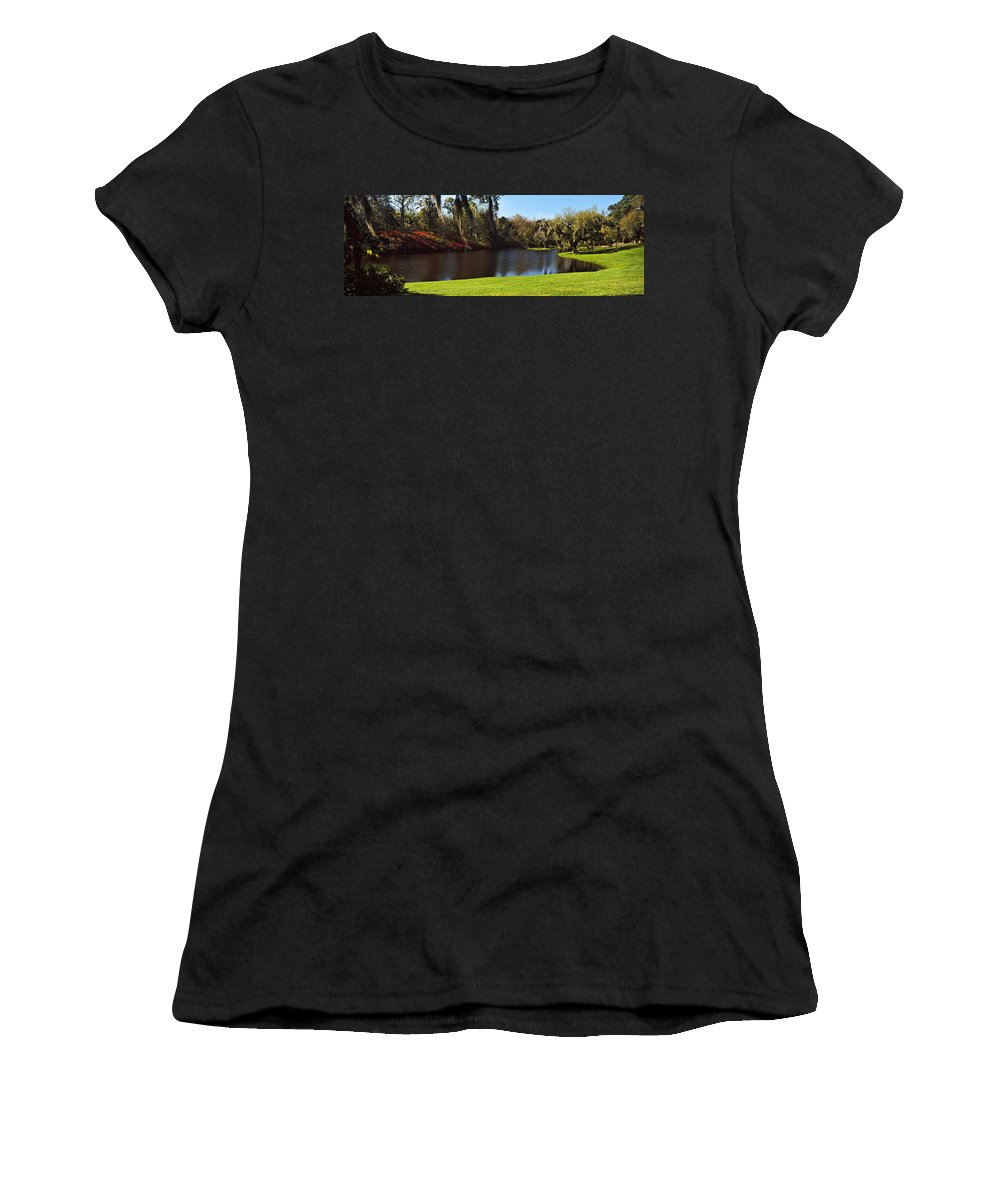 Photography Women's T-Shirt featuring the photograph Pond In A Garden, Middleton Place by Panoramic Images
