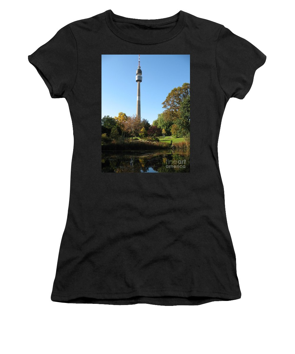 Tv Tower Women's T-Shirt (Athletic Fit) featuring the photograph Autumn Colors At A Pond by Christiane Schulze Art And Photography