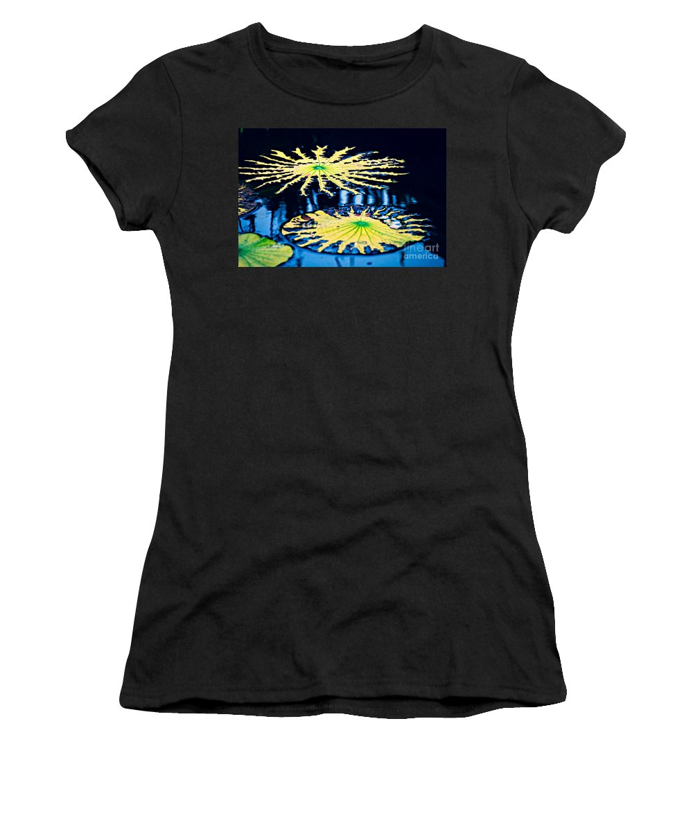 Pond Women's T-Shirt featuring the photograph Pond Lily Pad Abstract by Gary Richards