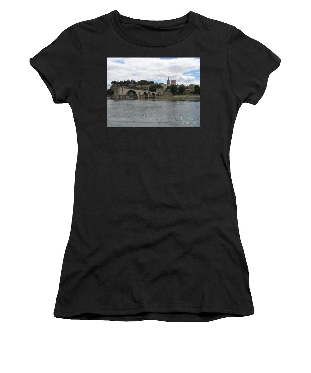 Bridge Women's T-Shirt (Athletic Fit) featuring the photograph Pont Saint Benezet And Pope Palace by Christiane Schulze Art And Photography