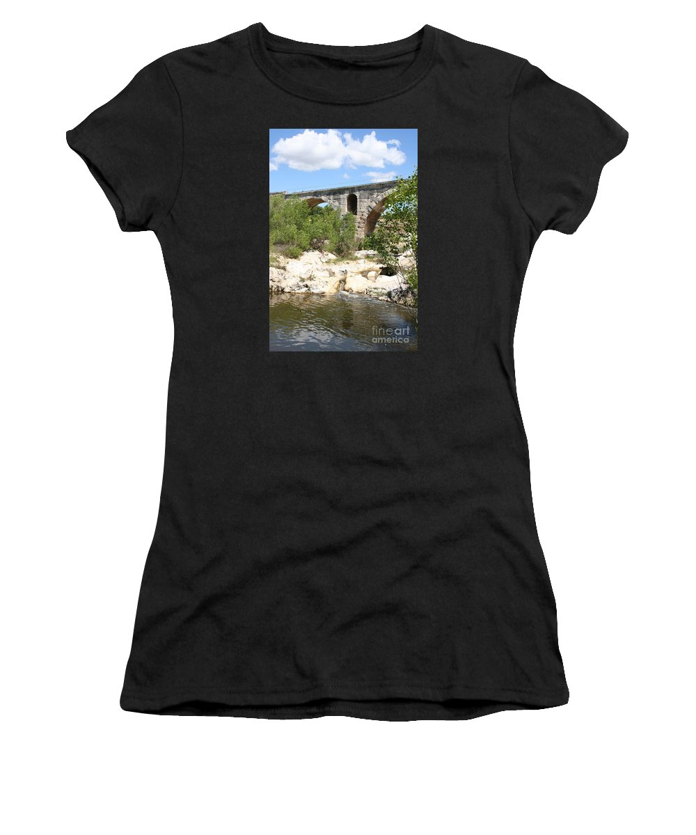 Roman Stonebridge Women's T-Shirt (Athletic Fit) featuring the photograph Pont St. Julien And River by Christiane Schulze Art And Photography