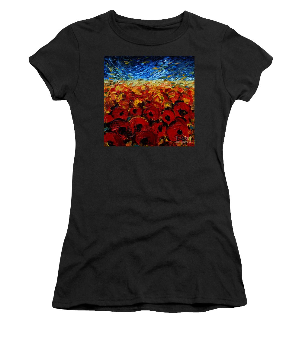 Poppies2 Women's T-Shirt (Athletic Fit) featuring the painting Poppies 2 by Mona Edulesco
