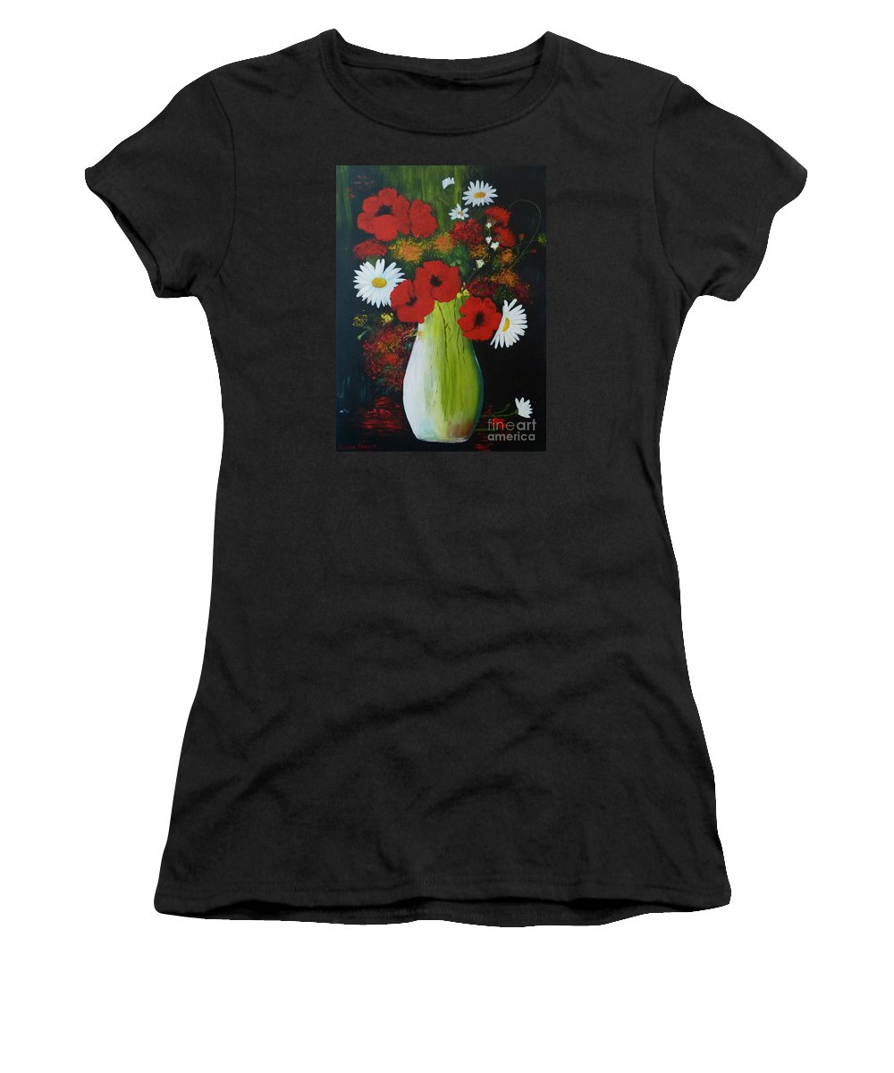Poppies Women's T-Shirt featuring the painting Poppies And Daisies by Alicia Fowler