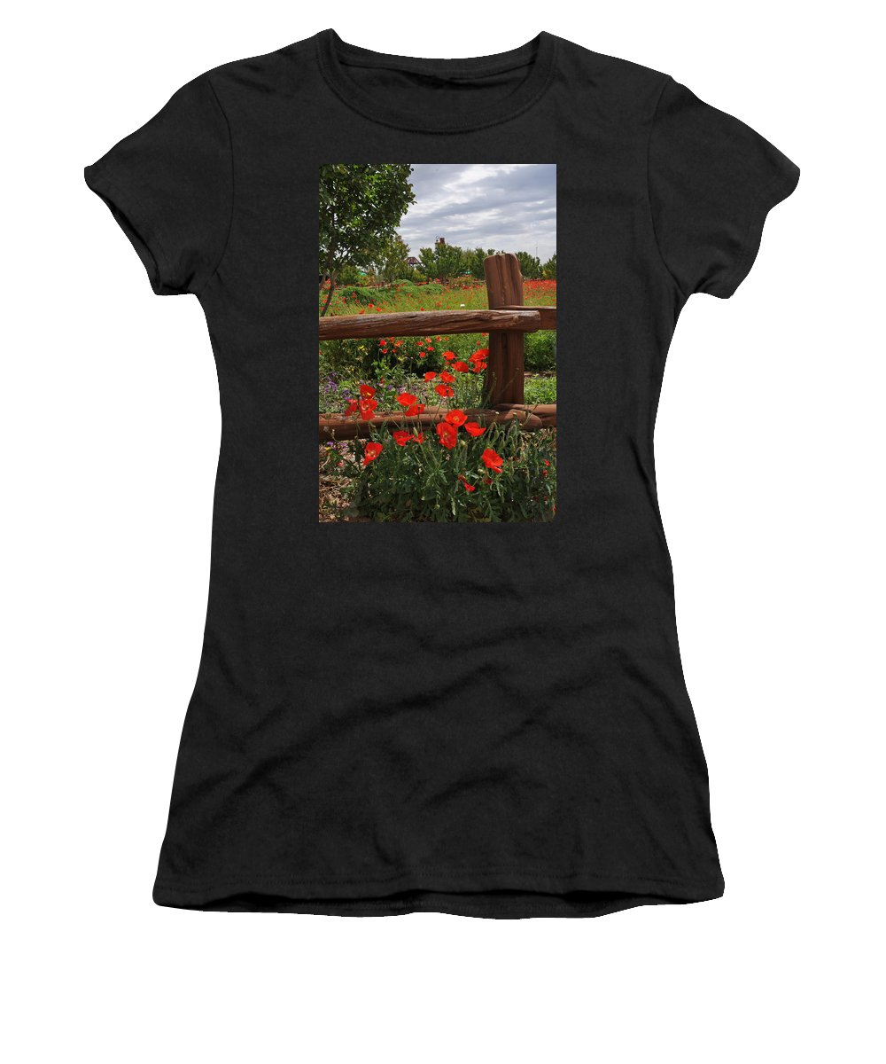 Wildflowers Women's T-Shirt (Athletic Fit) featuring the photograph Poppies At The Farm by Lynn Bauer