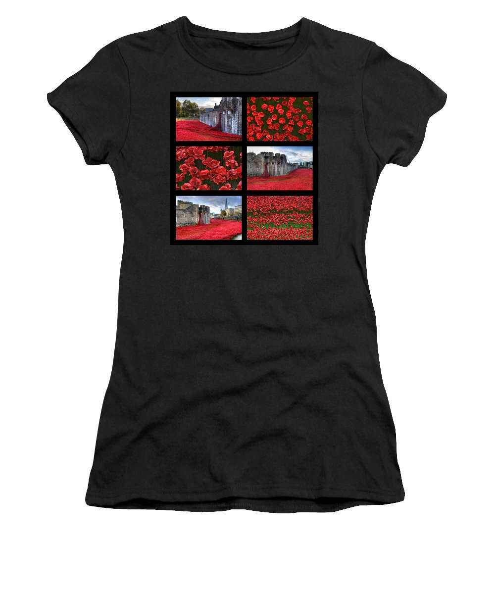 Tower Of London Poppies Women's T-Shirt (Athletic Fit) featuring the photograph Poppies At The Tower Collage by Chris Day
