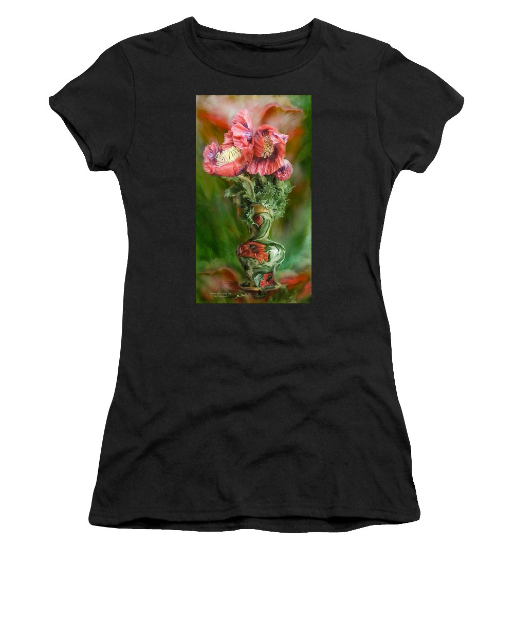 Poppy Art Women's T-Shirt (Athletic Fit) featuring the mixed media Poppies In A Poppy Vase by Carol Cavalaris