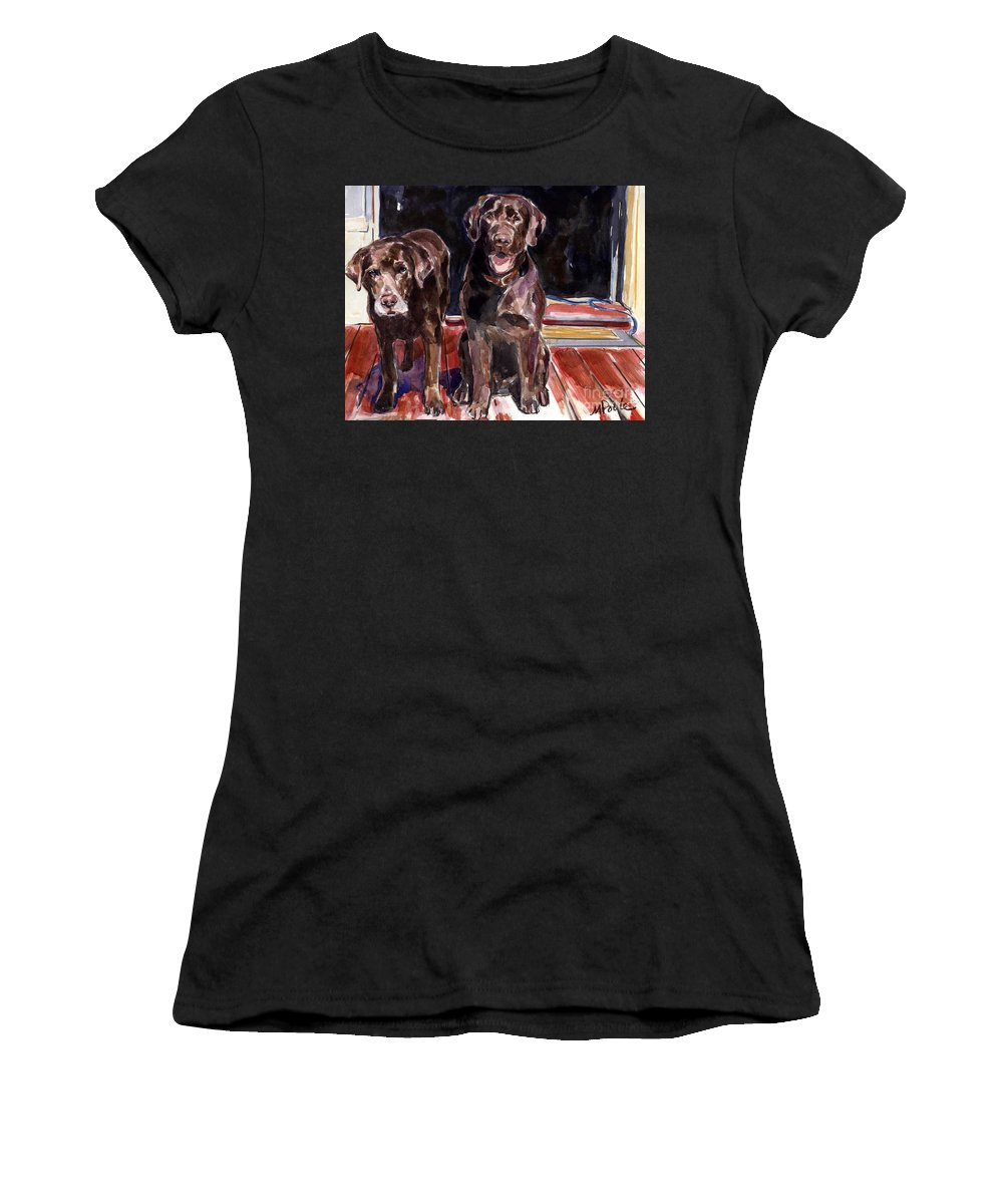 Chocolate Labs Women's T-Shirt featuring the painting Porch Light by Molly Poole