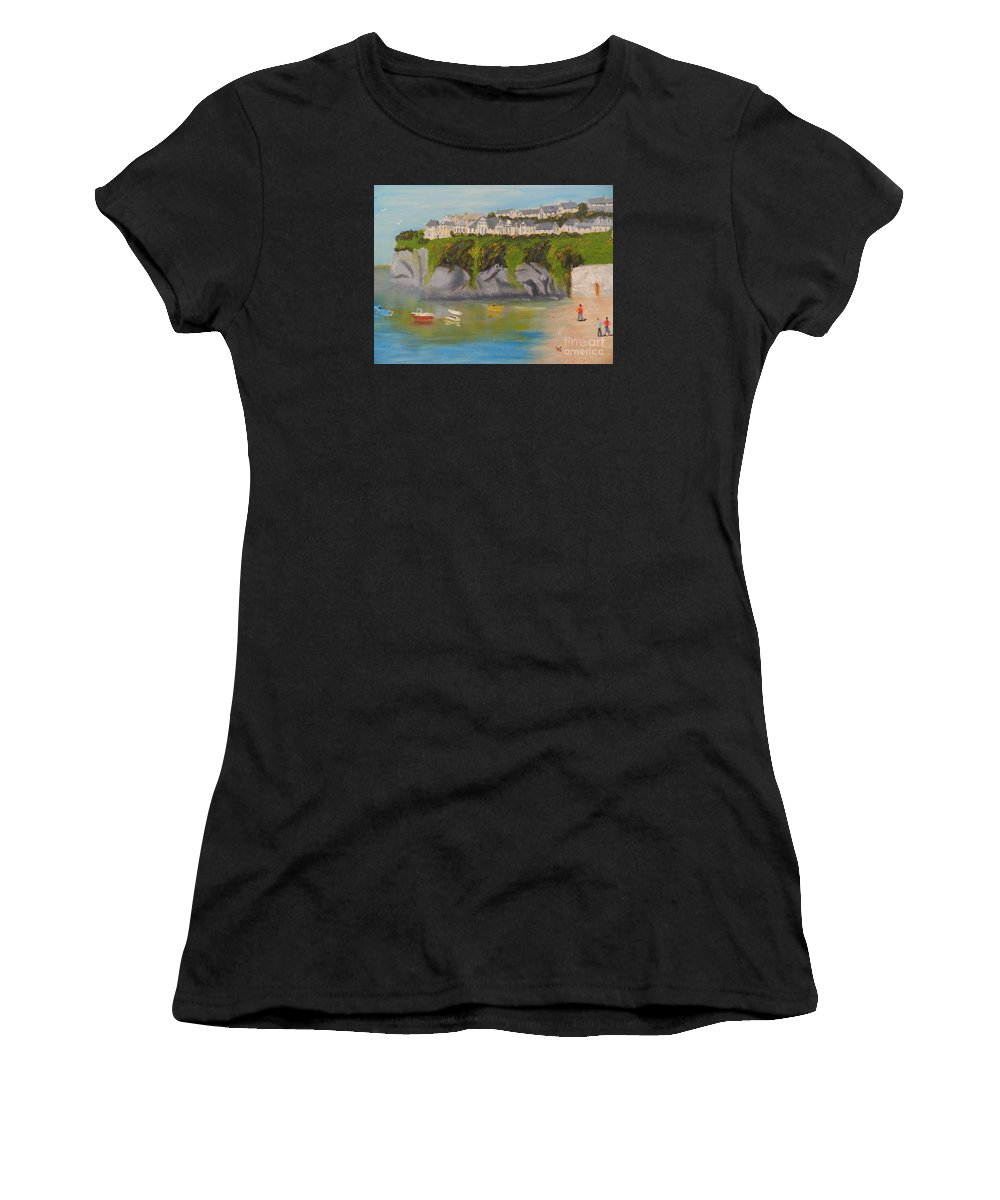 Impressionism Women's T-Shirt (Athletic Fit) featuring the painting Port Asaac Cornwell by Pamela Meredith