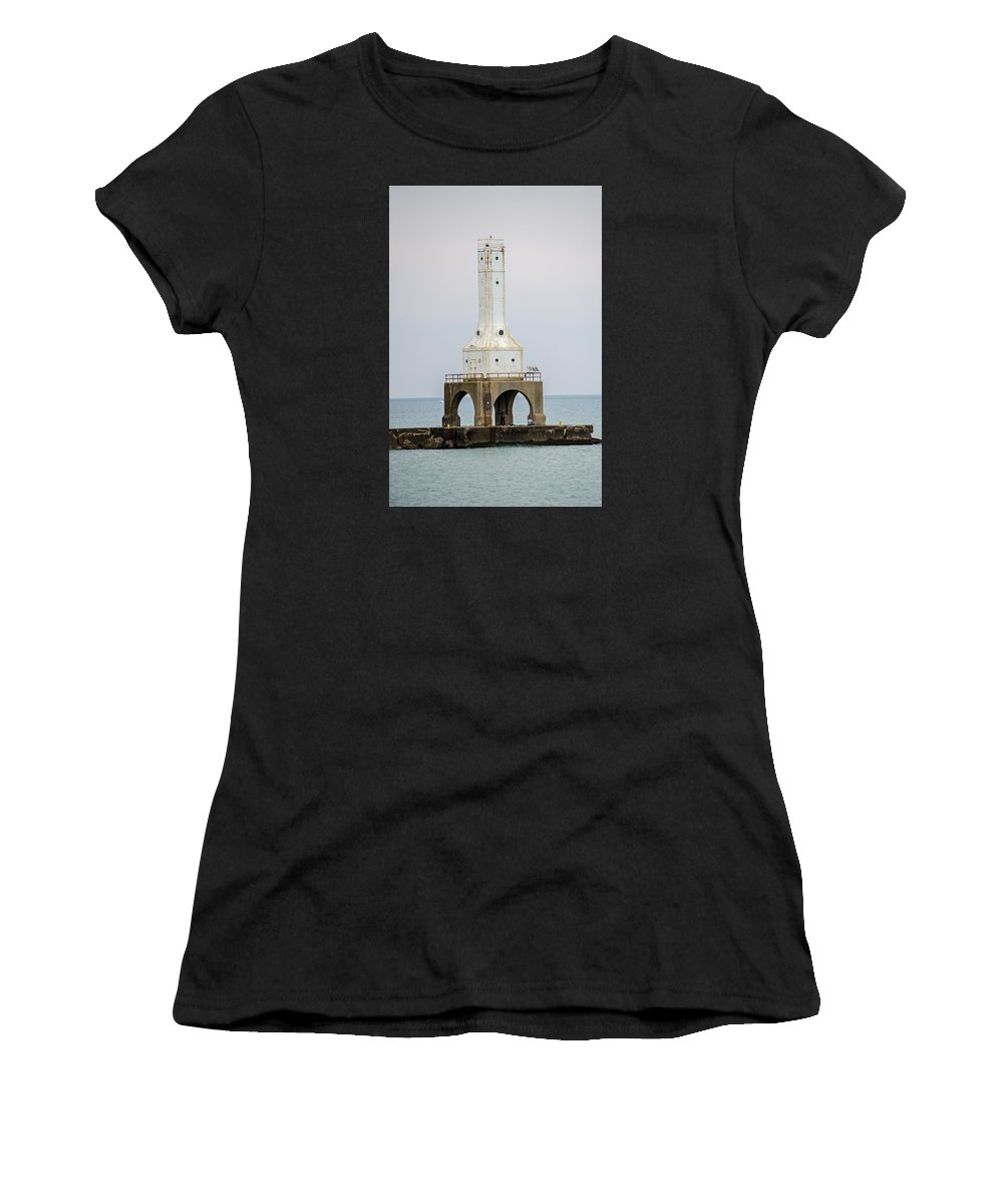 Lighthouse Women's T-Shirt featuring the photograph Port Washington Lighthouse by Susan McMenamin