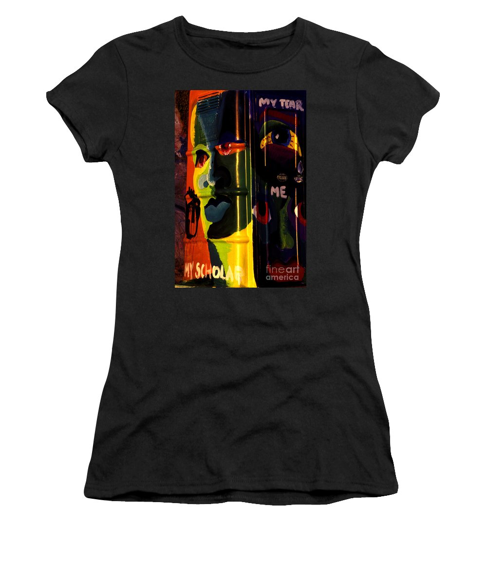 Graffiti Women's T-Shirt (Athletic Fit) featuring the photograph Porta-potty Canvas by Paul W Faust - Impressions of Light