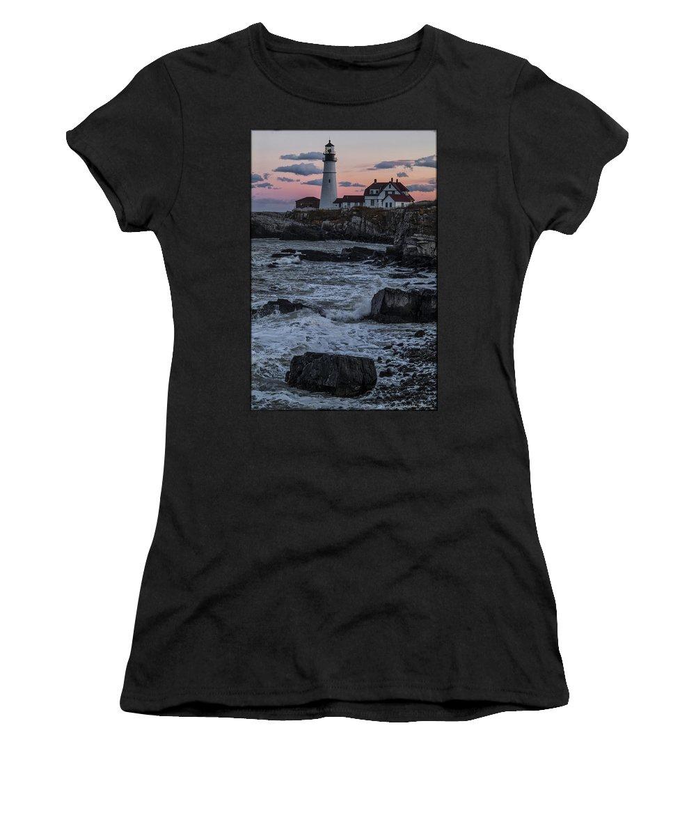 Water Women's T-Shirt featuring the photograph Portland Head Lighthouse Sunset by Erika Fawcett