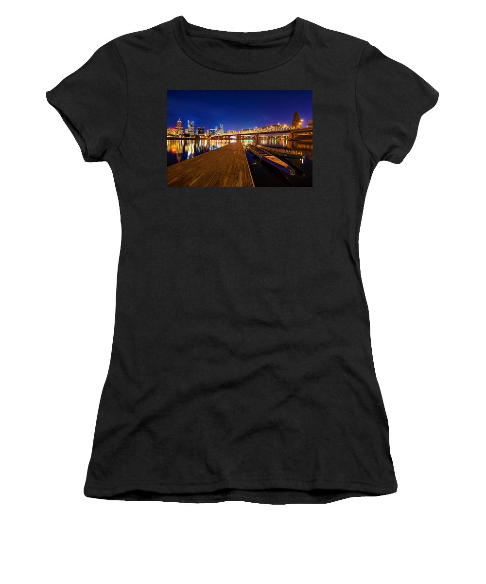 Portland Women's T-Shirt featuring the photograph Portland Under The Stars by Dustin LeFevre