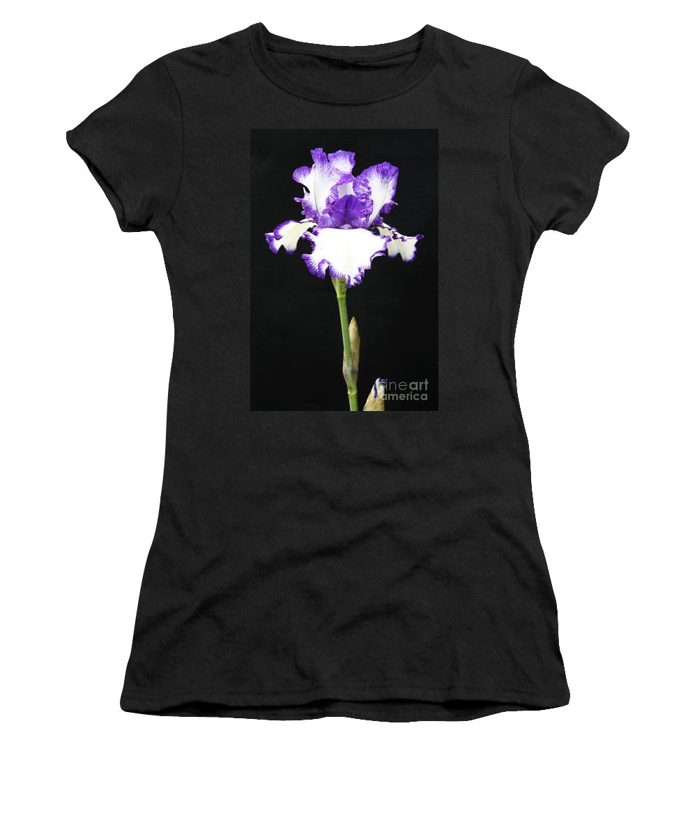 Iris Women's T-Shirt (Athletic Fit) featuring the photograph Portrait Of An Iris by Christina Gupfinger