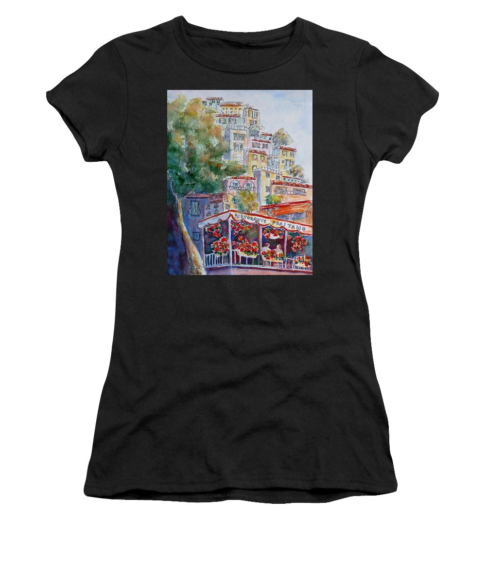 Positano Women's T-Shirt (Athletic Fit) featuring the painting Positano Restaurant by Carolyn Jarvis