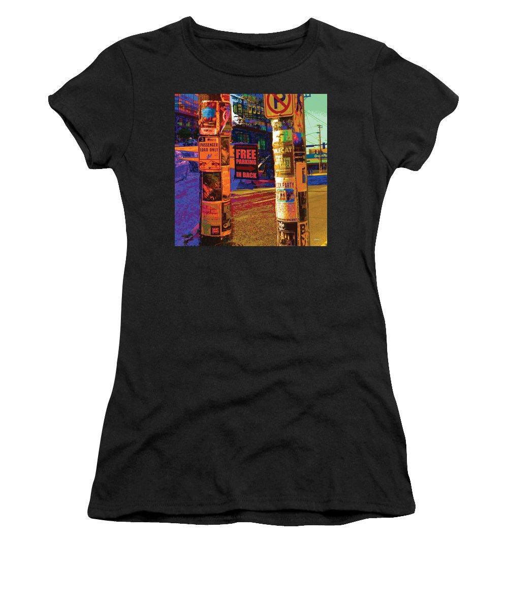 Abstract Women's T-Shirt featuring the digital art Post No Bills Panel 3 Of 3 by James Kramer