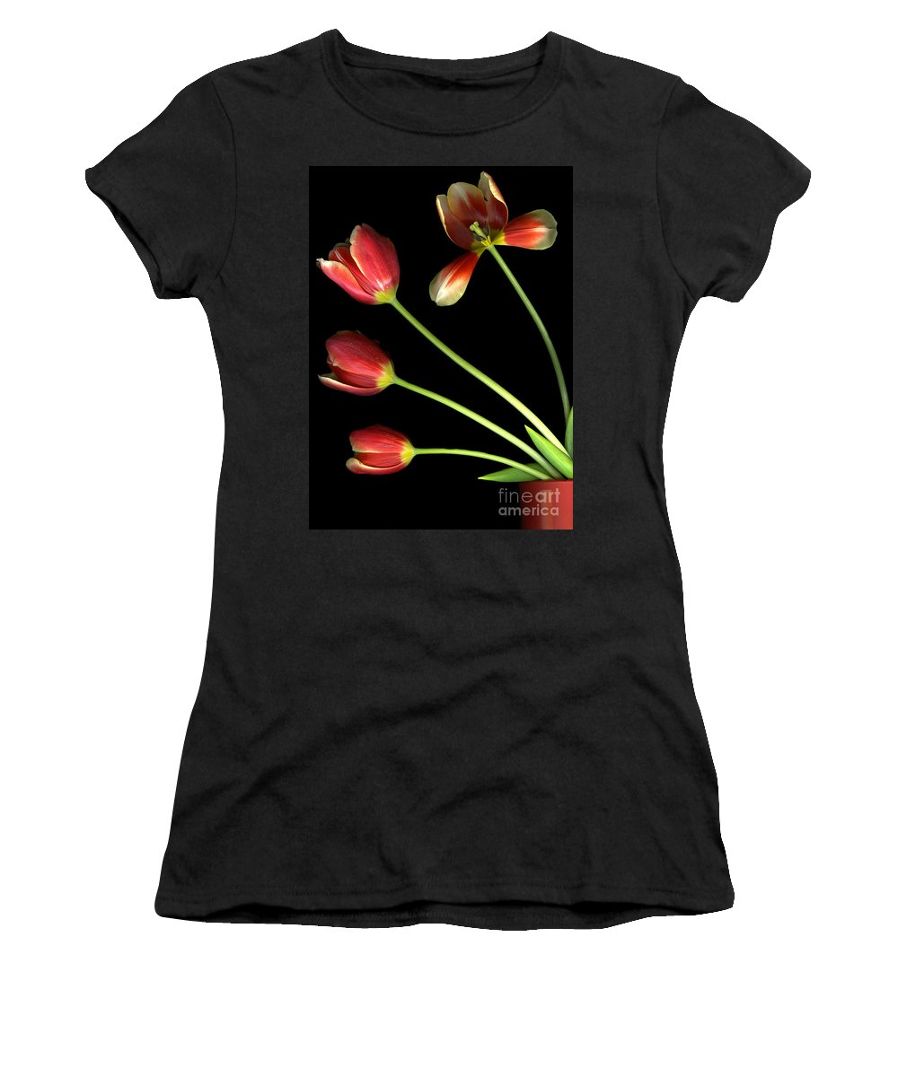Scanography Women's T-Shirt (Athletic Fit) featuring the photograph Pot Of Tulips by Christian Slanec