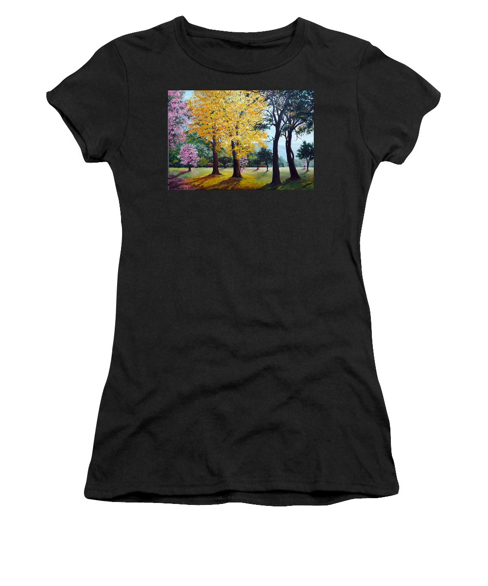 Tree Painting Landscape Painting Caribbean Painting Poui Tree Yellow Blossoms Trinidad Queens Park Savannah Port Of Spain Trinidad And Tobago Painting Savannah Tropical Painting Women's T-Shirt (Athletic Fit) featuring the painting Poui Trees In The Savannah by Karin Dawn Kelshall- Best