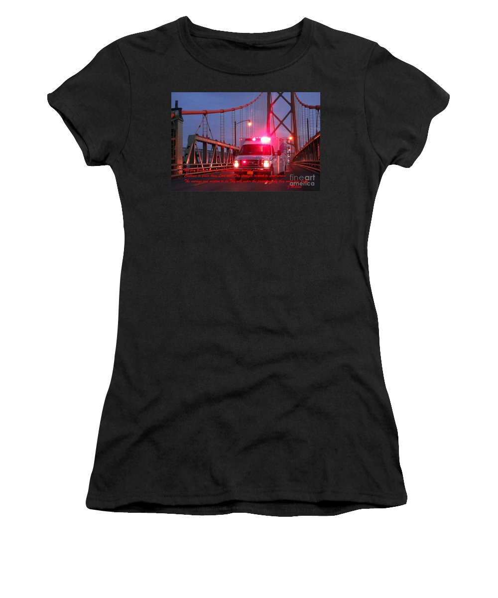 Prayer For Emergency Health Care First Responders Women's T-Shirt featuring the photograph Prayer For Emergency Health Care First Responders by John Malone