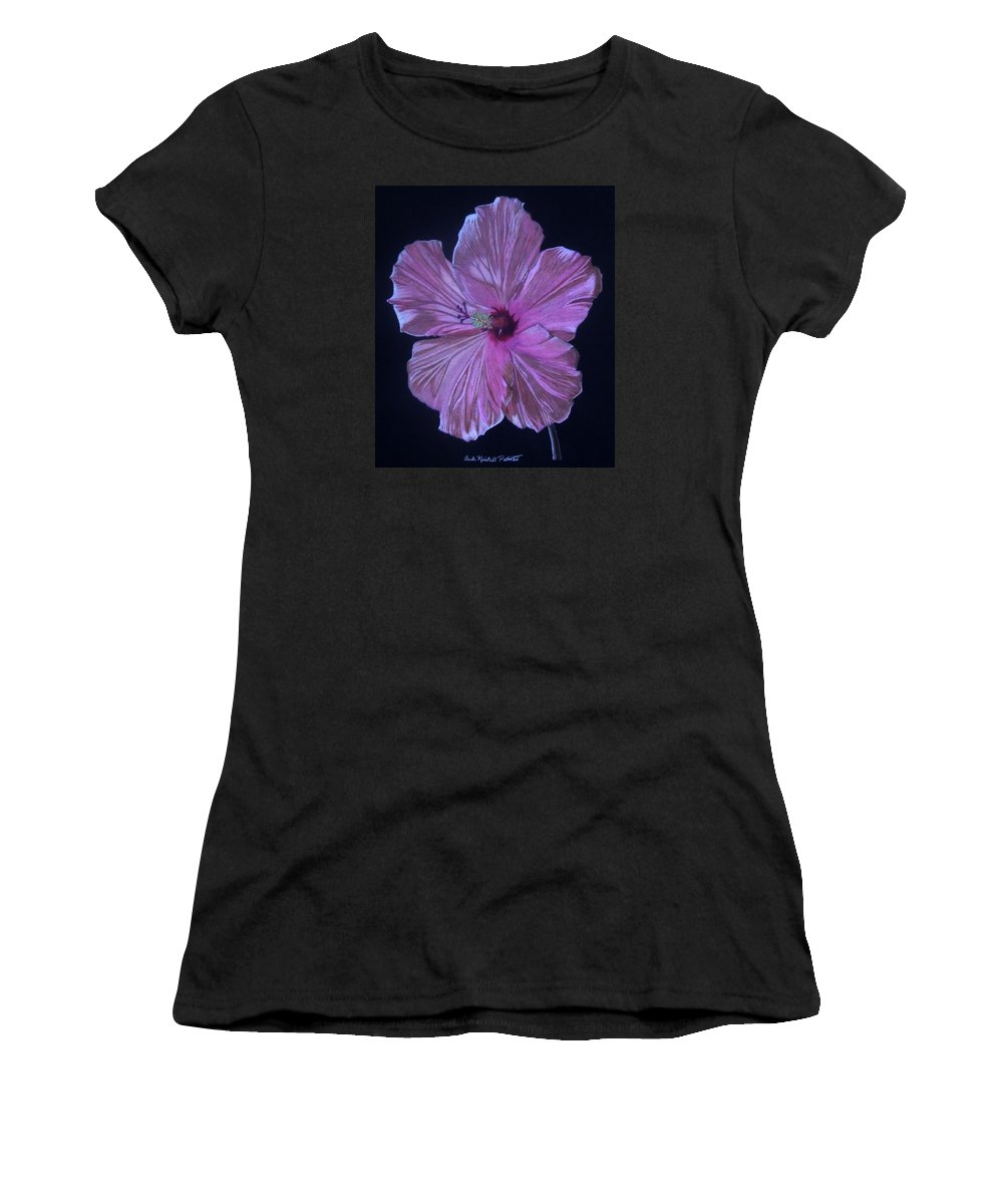 Hibiscus Women's T-Shirt (Athletic Fit) featuring the drawing Pretty In Pink by Anita Putman