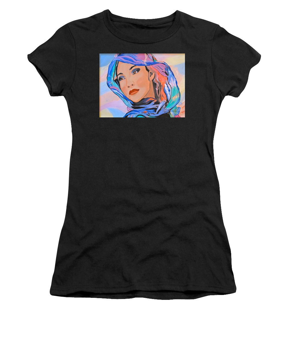 Beautiful Lady Women's T-Shirt featuring the painting Pretty Lady by Phyllis Kaltenbach