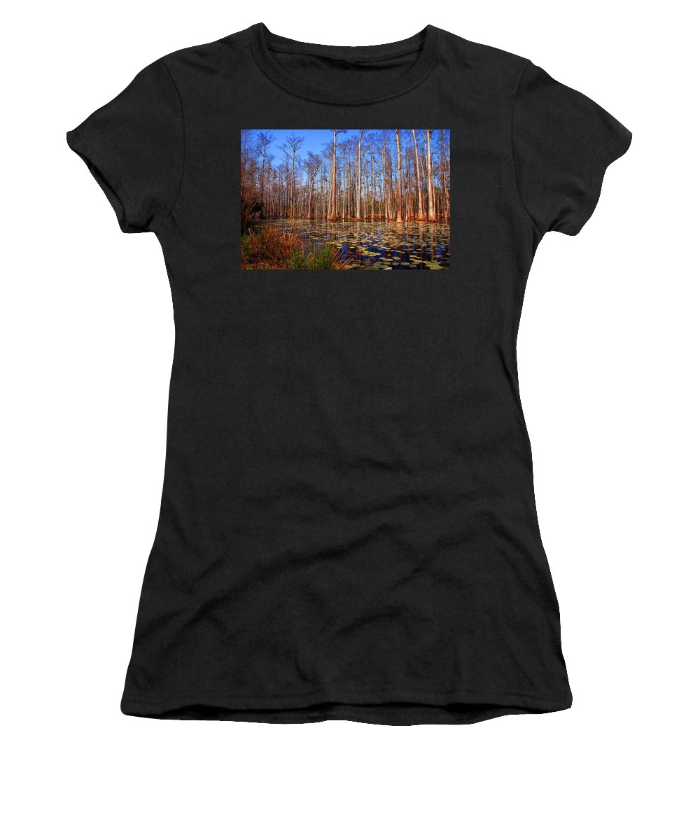 Swamp Women's T-Shirt (Athletic Fit) featuring the photograph Pretty Swamp Scene by Susanne Van Hulst