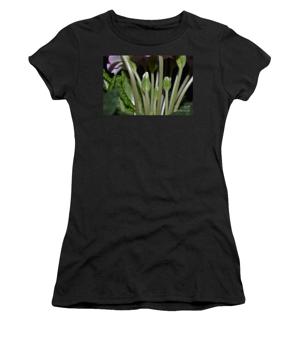 Spring Flower Women's T-Shirt (Athletic Fit) featuring the photograph Primeroses Steam And Buds by Felicia Tica