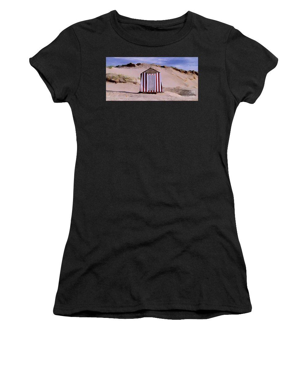 Sandy Beach Women's T-Shirt featuring the painting Privacy by John Malone