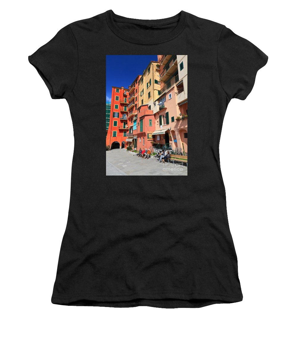 Ancient Women's T-Shirt (Athletic Fit) featuring the photograph promenade and homes in Camogli by Antonio Scarpi