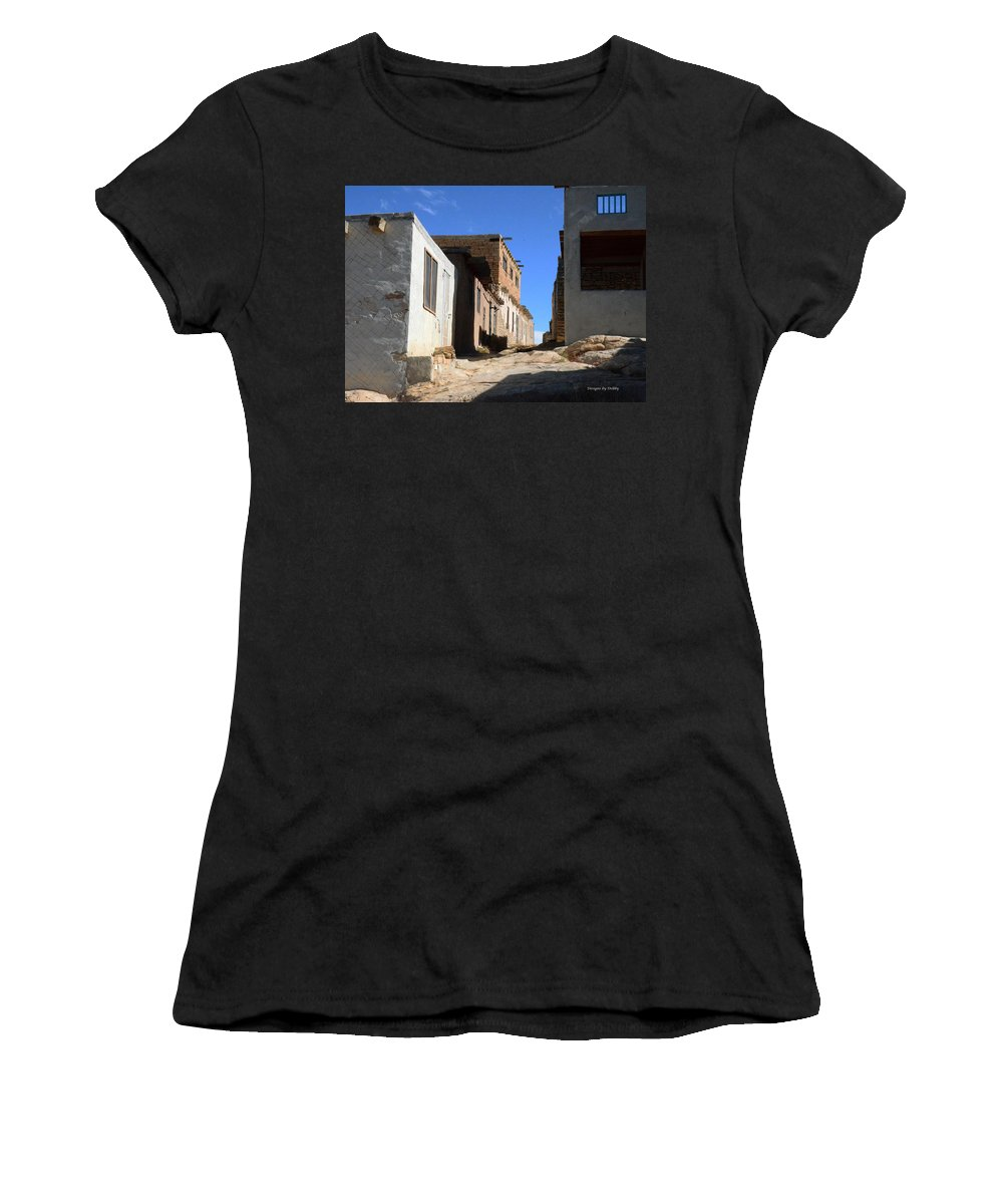 Pathway Women's T-Shirt (Athletic Fit) featuring the photograph Pueblo Pathway by Debby Pueschel