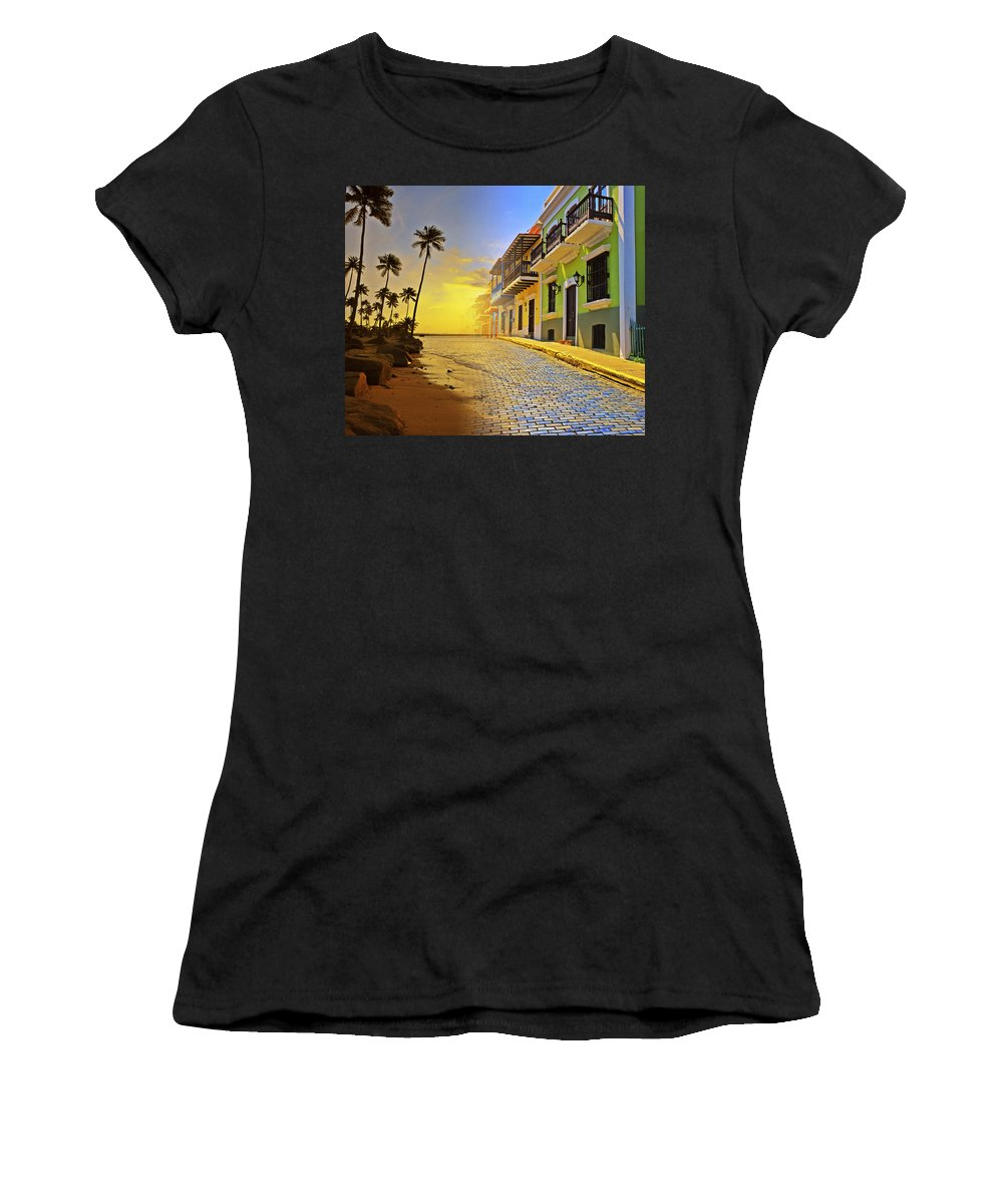 Puerto Rico Women's T-Shirt (Athletic Fit) featuring the photograph Puerto Rico Collage 2 by Stephen Anderson