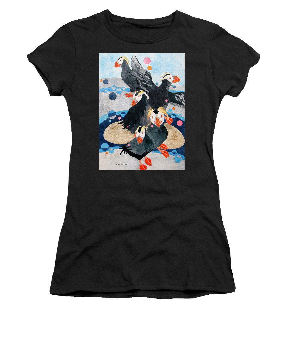 Nature Women's T-Shirt featuring the painting Puffins by Sherri Bails