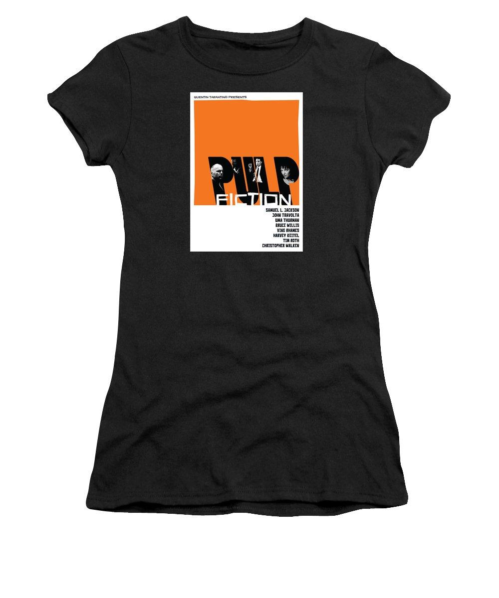 Movie Women's T-Shirt featuring the digital art Pulp Fiction Poster by Geraldinez