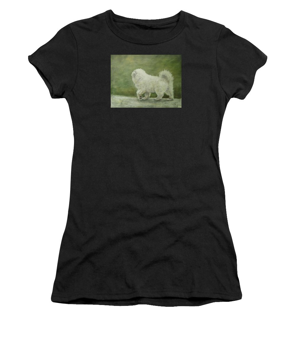 Samoyed Puppies Women's T-Shirt (Athletic Fit) featuring the painting Puppy Struttin' by Elizabeth Ellis