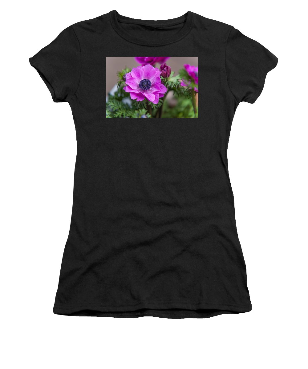 Flower Women's T-Shirt (Athletic Fit) featuring the photograph Purple Anemone. Flowers Of Holland by Jenny Rainbow