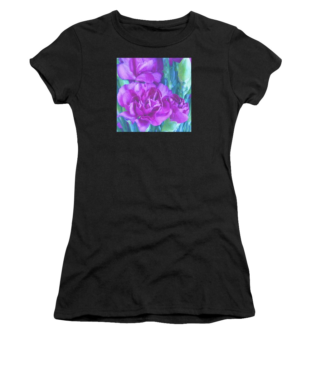 Carnations Women's T-Shirt featuring the photograph Purple Carnations by Lillian Hibiscus
