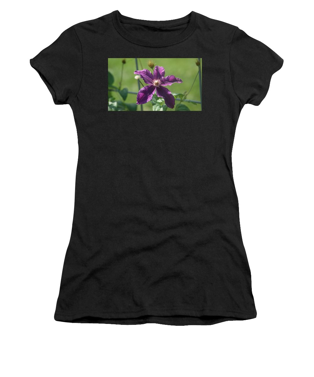 Purple Women's T-Shirt (Athletic Fit) featuring the photograph Purple Clemaits  # by Rob Luzier