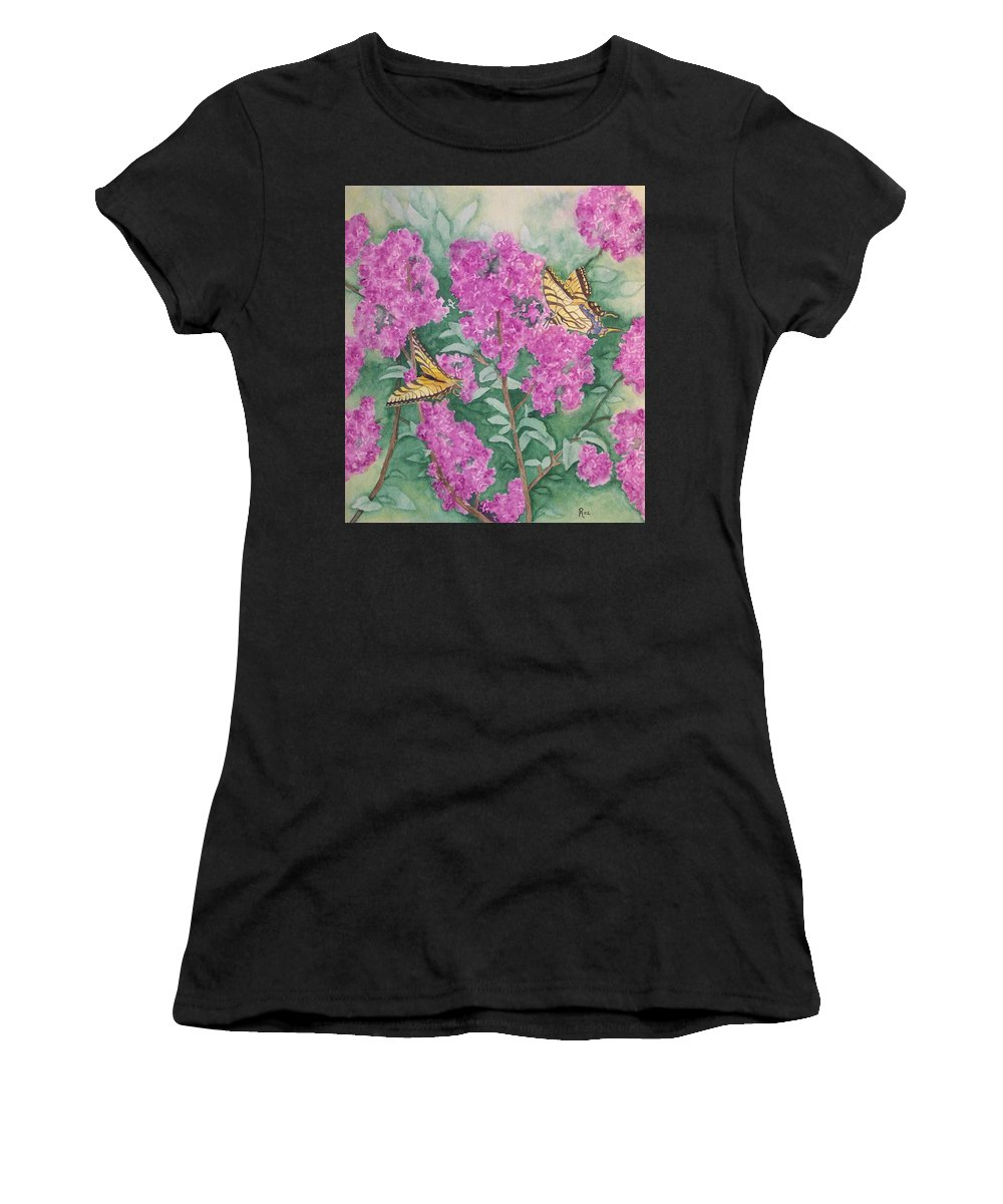 Lilacs Women's T-Shirt featuring the painting Purple Haze Cafe by Rhonda Leonard